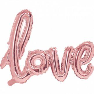 """Różowe złoto balon w kształcie napisu """"love"""""""