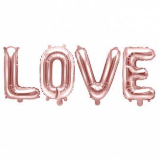 Balony literki L O V E w kolorze różowego złota