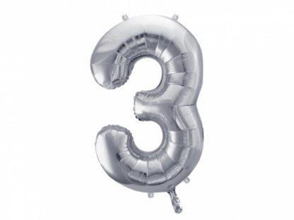 Srebrny balon foliowy w kształcie cyfry 3