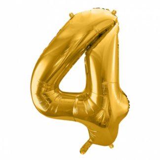 Złoty balon foliowy w kształcie cyfry 4