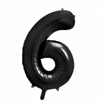 Czarny balon foliowy w kształcie cyfry 6