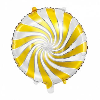 Balon foliowy w kształcie złoto-białego cukierka