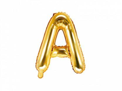 Złoty balon foliowy w kształcie litery A