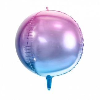 Fioletowo-niebieski balon foliowy w kształcie kuli