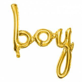 """Złoty balon w kształcie napisu """"boy"""""""