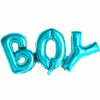 """Niebieskie balony-litery w kształcie napisu """"boy"""""""