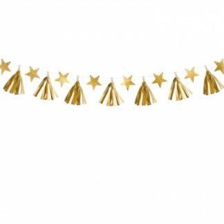 Złota girlanda z gwiazdkami i frędzlami