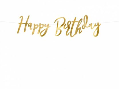 """Złota girlanda z napisem """"Happy Birthday"""""""