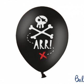 Czarny balon lateksowy z motywem piratów