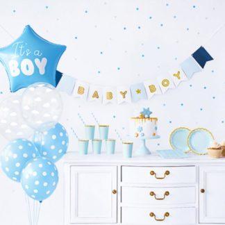 Zestaw dekoracji na baby shower dla chłopca