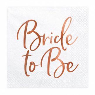 """Biała serwetka z napisem """"bride to be"""""""