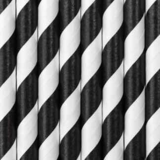 słomki papierowe w czarno-białe paski