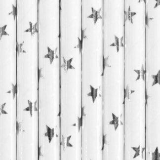 Białe słomki papierowe w srebrne gwiazdki