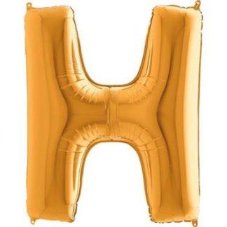 Złoty balon foliowy w kształcie litery H