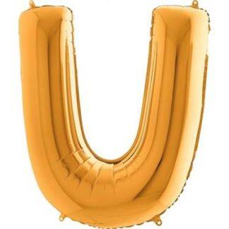 Złoty balon foliowy w kształcie litery U
