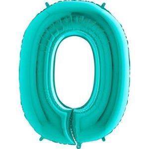 Miętowy balon foliowy w kształcie cyfry 0