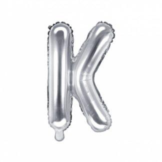 Srebrny balon foliowy w kształcie litery K