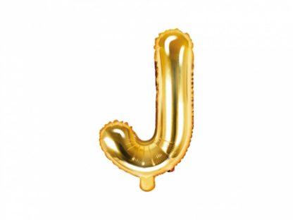 Złoty balon foliowy w kształcie litery J