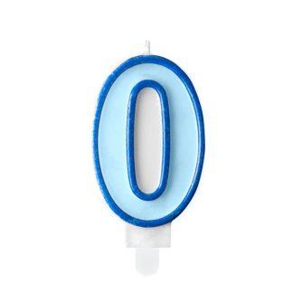 Niebieska świeczka na tort w kształcie cyfry 0