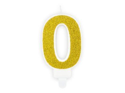 Złota świeczka na tort w kształcie cyfry 0
