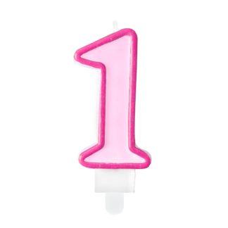 Różowa świeczka na tort w kształcie cyfry 1