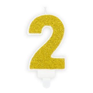 Złota świeczka na tort w kształcie cyfry 2