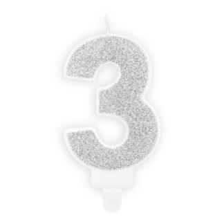 Srebrna świeczka na tort w kształcie cyfry 3