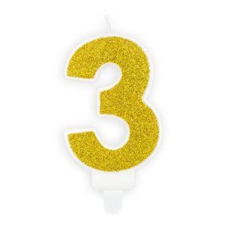 Złota świeczka na tort w kształcie cyfry 3