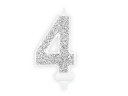 Srebrna świeczka na tort w kształcie cyfry 4