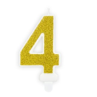 Złota świeczka na tort w kształcie cyfry 4
