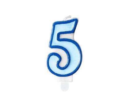Niebieska świeczka na tort w kształcie cyfry 5