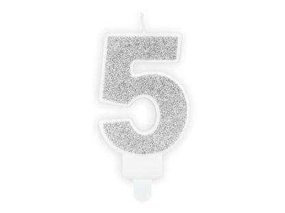 Srebrna świeczka na tort w kształcie cyfry 5