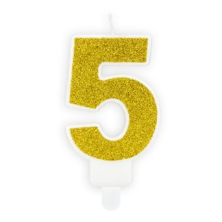 Złota świeczka na tort w kształcie cyfry 5