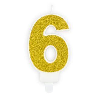 Złota świeczka na tort w kształcie cyfry 6