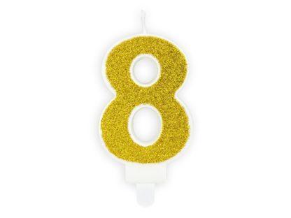 Złota świeczka na tort w kształcie cyfry 8