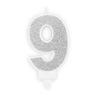 Srebrna świeczka na tort w kształcie cyfry 9