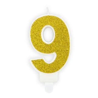 Złota świeczka na tort w kształcie cyfry 9