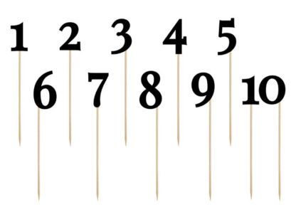 Czarne cyferki i numerki na patyczkach