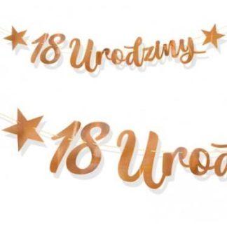 """Baner z różowego złota z napisem """"18 urodziny"""""""