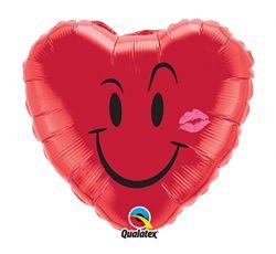Balon foliowy w kształcie serca z buźką