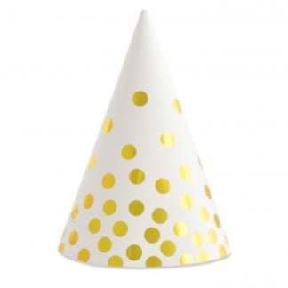 Biała czapeczka papierowa ze złotymi kropkami