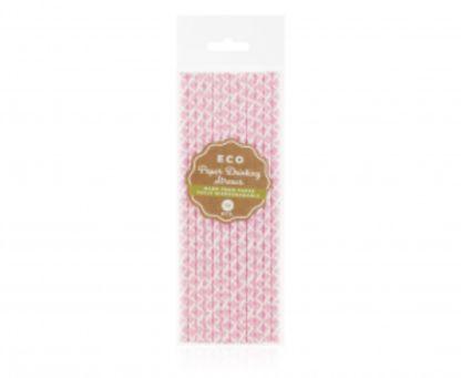 Opakowanie słomek papierowych z różową koronką