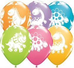 Kolorowe balony lateksowe z motywem dinozaurów