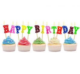 """Świeczki kolorowe w kształcie napisu """"happy birthday"""""""