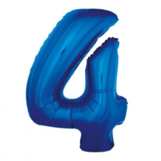 Granatowy balon foliowy w kształcie cyfry 4