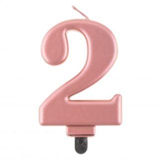 Różowe złoto świeczka na tort w kształcie cyfry 2