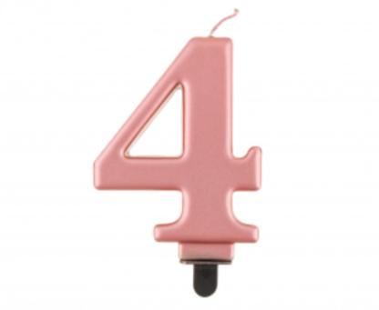 Różowe złoto świeczka na tort w kształcie cyfry 4