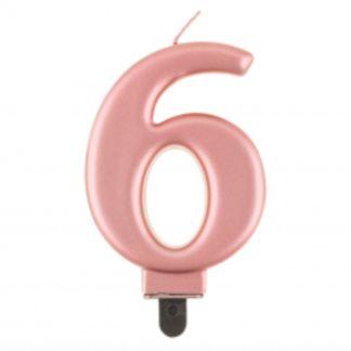 Różowe złoto świeczka na tort w kształcie cyfry 6