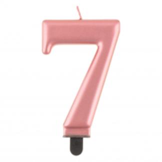 Różowe złoto świeczka na tort w kształcie cyfry 7