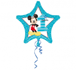 Balon foliowy z myszką mickey w kształcie gwiazdki na pierwsze urodziny